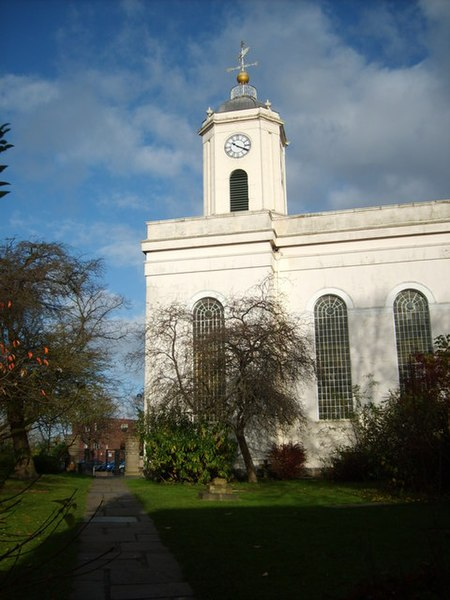 Bilston Parish Church St Leonard's Church of England from Church Street.
