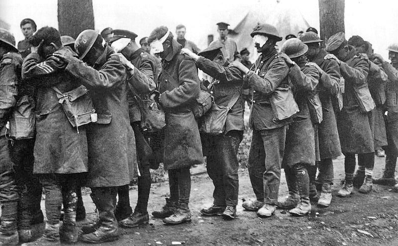 British 55th (West Lancashire) Infantry Division troops blinded by tear gas during the Battle of Estaires, 10 April 1918.