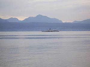 Steamboat on Lake Geneva, near Lausanne (Switz...