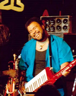 English: George Duke and Miles Davis in 1986 a...