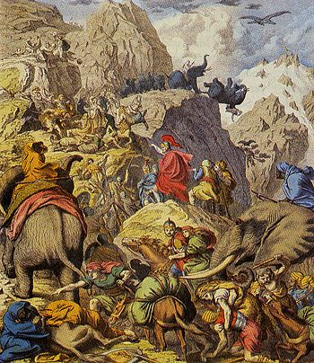Depiction of Hannibal and his army crossing th...