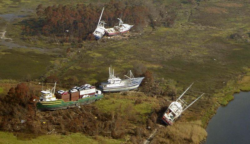 Katrina Bayou La Batre 2005 boats ashore.jpg
