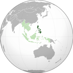 Location of the Philippines (dark green) in ASEAN (light green) and Asia.