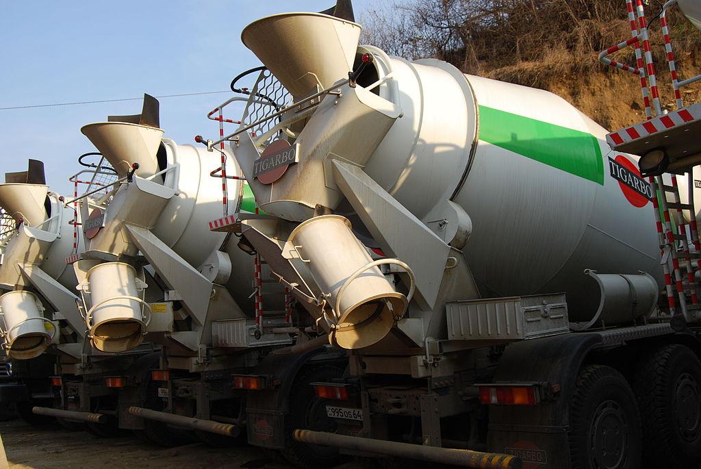 Teghut Mine - cement trucks