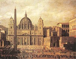 "Viviano Codazzi: Rendition of St. Peter's Square, Rome, dated 1630. Kant referred to St. Peter's as ""splendid"", a term he used for objects producing feeling for both the beautiful and the sublime."
