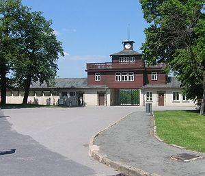 English: Buchenwald gatehouse, June 2006. by S...