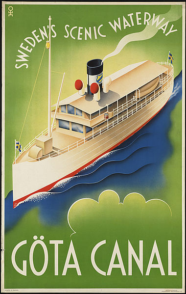 Vintage travel posters inspiring tourism to the Gota Canal Sweden