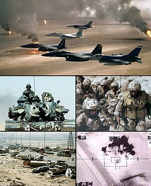 English: Gulf War photo collage for use in the...