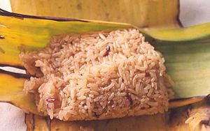 sticky rice in traditional banana-leaf wrapper...