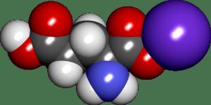 English: Space filling model of monosodium glu...