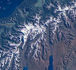 The Aoraki/Mount Cook area from LandSat. This ...