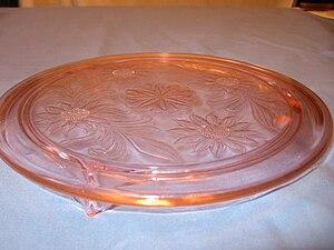 English: Pink Depression Glass Sunflower Cake ...