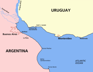 Map of the Río de la Plata, showing cities in ...