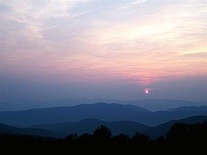 Sunset in Shenandoah National Park, Virginia.