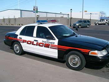 English: Picture of a Thatcher, Arizona police...