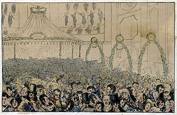 A theatre audience, 18th or 19th century; hand...