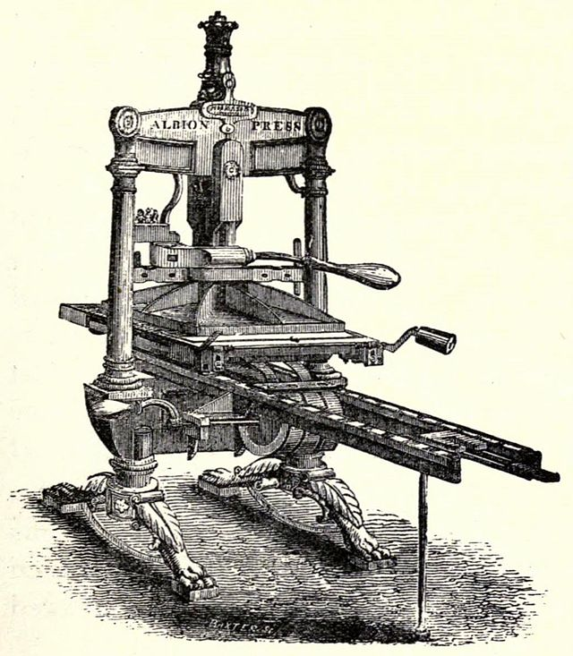 Image of an old-fashioned printing press from the 19th century