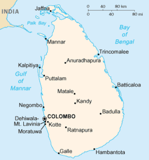 Main cities in Sri Lanka.