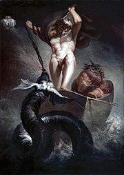 Thor lutando contra a serpente Jormungard, filha de Loki.