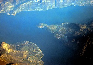 Aerial view of Lake Como and arm of the lecco ...