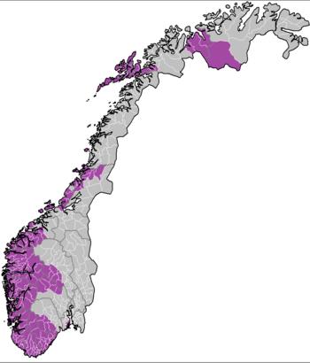 English: A map showing the Norwegian Bible Bel...