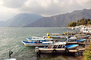 Boats by Lake Atitlan, Panajachel 2009