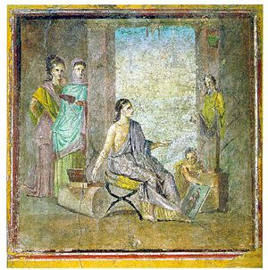 Pompeian painter with painted statue and frame...