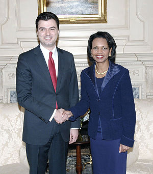English: Condoleezza Rice and Albanian foreign...