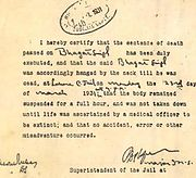 Death Certificate of Bhagat Singh