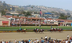 English: Horse race at the Del Mar Racetrack. ...