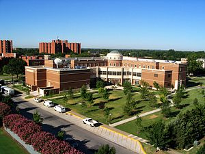 A view of the back of Gaylord Hall in Norman, OK.