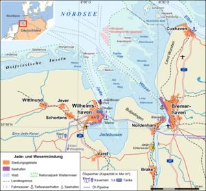 Deutsch: Übersichtskarte Jade- und Wesermündung