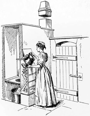 A Manchester pail closet, with a cinder sifter