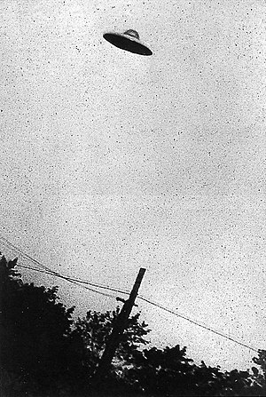 Grainy B&W image of supposed UFO, Passoria, Ne...