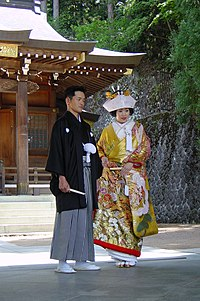 Couple married in a shinto ceremony in Takayam...