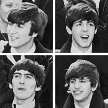 "Four greyscale images of young men with ""mop-top"" haircuts, separated by a white border. John Lennon (top left) is looking towards the left of the frame (his right), with exposed teeth. Paul McCartney (top right) is facing forward with an opened mouth. George Harrison (bottom left) has his right arm raised and his tongue stuck out slightly as if licking his lips. Ringo Starr's teeth are visible, and his left eye is closed as if winking. All four are dressed in white shirts, black ties, and dark coats."