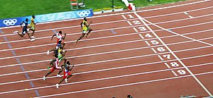 Usain Bolt winning the 100 m final 2008 Olympics.