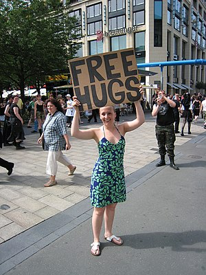 'FREE HUGS', Leipzig, Germany.