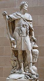An�bal Barca según representación de François Girardon en 1704, situado en el Patio Puget del Louvre. An�bal se representa contando los anillos romanos tomados en la batalla de Cannas, el 216 adC