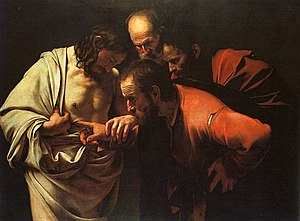 The Incredulity of Saint Thomas by Caravaggio....