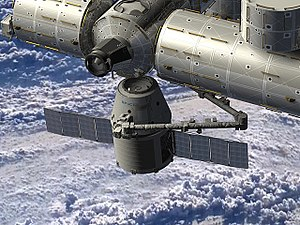 English: Artist rendering of SpaceX Dragon spa...
