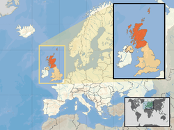 Location of  Scotland  (orange)– in the European continent  (camel & white)– in the United Kingdom  (camel)