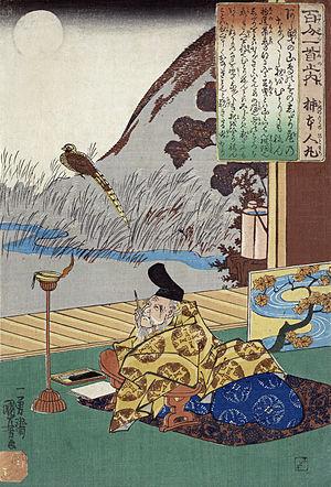 English: Kakinomoto no hitomaro, 1 print : woo...