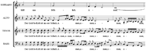 An excerpt from the ending of motet Gott ist u...
