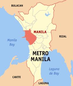 Bản đồ Vùng đô thị Manila thể hiện vị trí của thành phố Manila