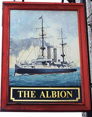 English: Sign for the Albion Albion is a poeti...
