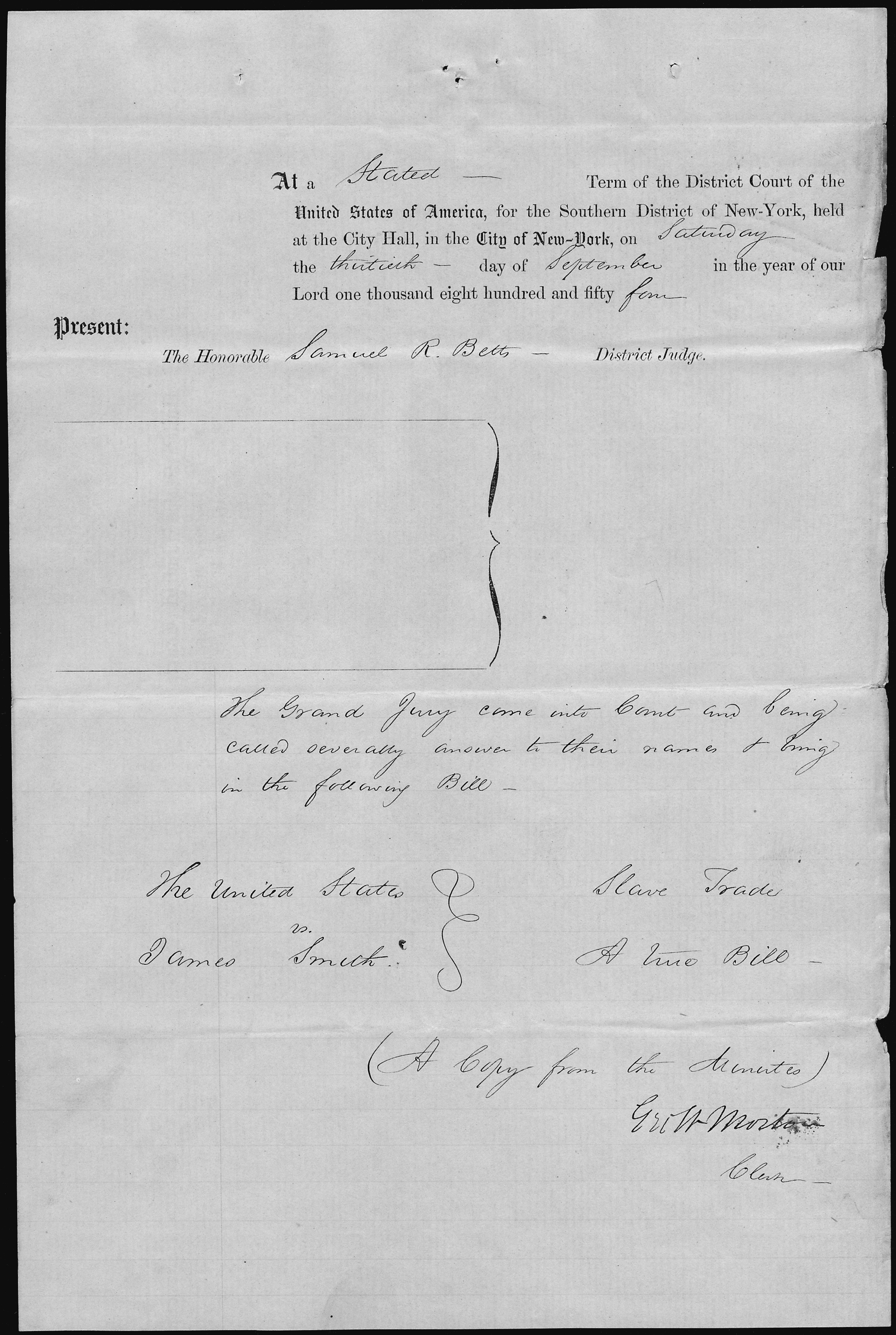 File United States V James Smith Copy From The Minutes Of The Grand Jury