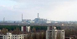 Chernobyl Nuclear Power Station, viewed from the roof of a building in Prypiat, Ukraine.   Fourth reactor