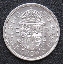 1953 half crown reverse
