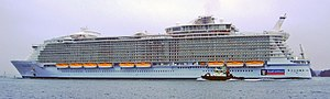 English: MS Allure of the Seas leaving STX shi...